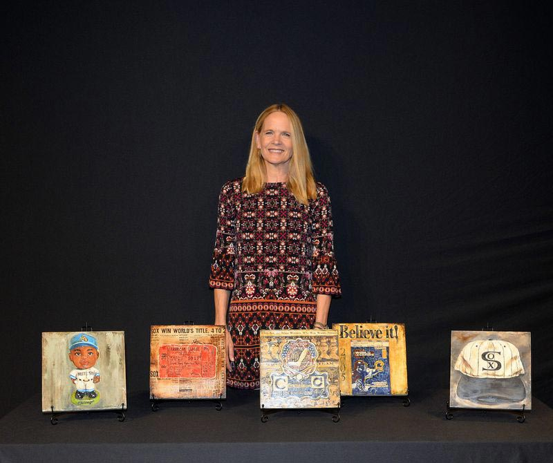 Lindsay Frost, mother of White Sox pitcher Lucas Giolito, was commissioned by the team to paint five works of art depicting representations of Sox history. (Darren Georgia / HANDOUT)